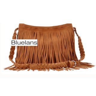 Fringe Tassel Faux Suede Shoulder Messenger Bag Handbag Weekend Bag