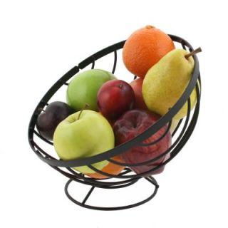 Tilted Fruit Basket Black Round Angled Bowl Metal Wire Modern Kitchen