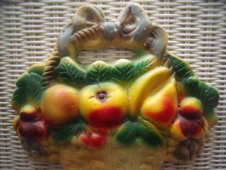 Shabby Cottage Chic Vintage Basket of Fruit Chalkware Wall Hanging