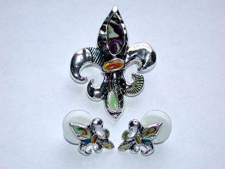 Vintage Fleur de Lis Gemstone Pin/Brooch & Pierced Earrings Set