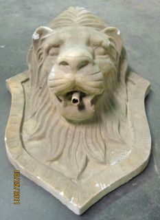 Lion Head Water Fountain Spout Indoor Outdoor Wall Mounted Cement
