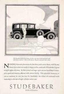 1929 Ad Antique President Eight State Sedan Studebaker Car Flapper Fur