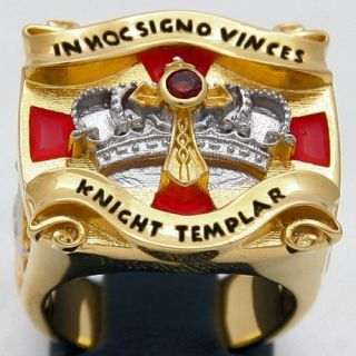 Knights Templar Masonic Freemason Ring 18 Kt Gold Plated Brand New in