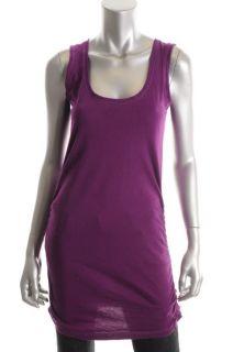 Famous Catalog New Purple U Neck Sleeveless Ruched Tank Tunic Top