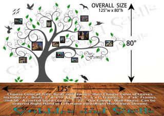 Tree w Photo Frames Wall Decal Sticker Family Branch Art Word