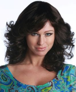 Sexy Brown 70s Charlies Angels Halloween Costume Wig