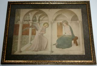 Annunciation Jesus Virgin Mary Gabriel Fra Angelico Print Gold Frame