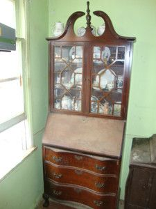 Antique Flip Top Desk Secretary Cabinet