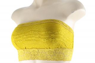 People New Gold Scalloped Lace Bandeau Tube Top Regular XS BHFO
