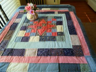Quilted Table Cover Handstitched Quilt Blue & Rose Flower Prints Free
