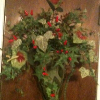 Silk Flower Arrangement Red Pepper In Green Hanging Container