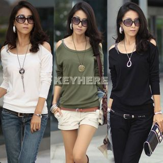 K0E1 Top Fashion Cotton Blends Long Sleeve Sexy Shoulder T Shirt