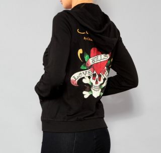 Womens Ed Hardy Christian Audigier Love Kills Slowly Rhinestone Hoodie