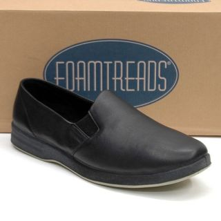 New Foamtreads Doral Black Comfort Leather Slip on Slippers Shoes Men