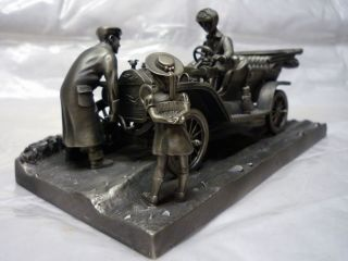 Franklin Mint Pewter Sculpture Diorama Ford Model T Very RARE Item