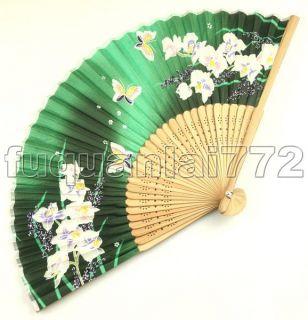 Unusual Floral Silk Hand Folding Fan Party Butterfly 381