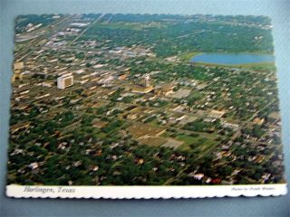 Aerial View Downtown Harlingen Texas TX Vintage Postcard