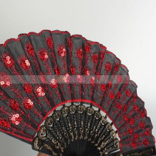Fashion Elegant Charming Noble Black Lace With Red Sequins Folding Fan
