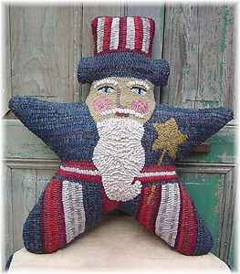 Uncle Sam Americana Folk Art Primitive Wool Hooked Rug Hooking PAPER
