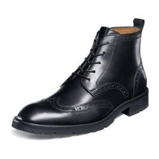 Florsheim Mens Gaffney Black Leather Wing Tip Dress Boot 15030
