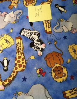 Must Sell Childrens Print on Blue 100 Cotton 1yd 28