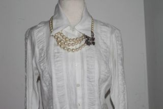 Anne Fontaine White Cotton Button Down Shirt Blouse Size 38