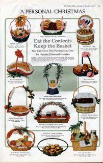FP 1918 Home Decor Christmas Gift Basket Bakery Family Ad