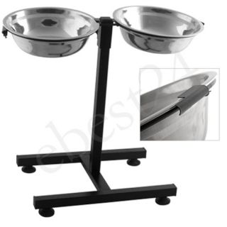 dog pet puppy water food feeding stand 2 bowls