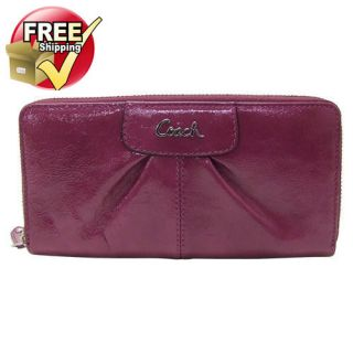 NWT Coach Ashley Patent Leather Zip Around Wallet in Dark Plum F 46307