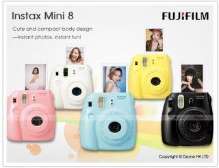 Fujifilm Instant Instax Mini 8 Polaroid Film Camera Black Color