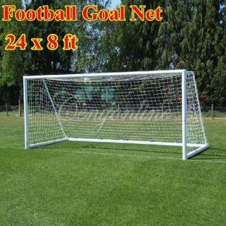 Full Size 24 x 8ft Football Soccer Goal Post Nets Straight Flat Back 7
