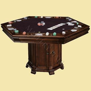 Multi Purpose Cherry Game Table Set Club Chairs Leather