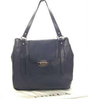 Furla Elektra Navy Blue Leather Tote Handbag New