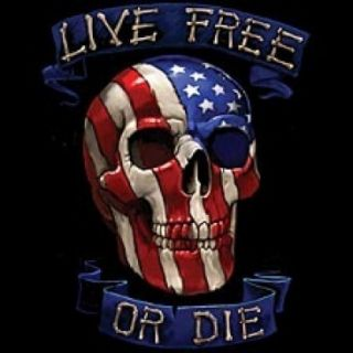 Red White Blue Skull Live Free Biker Tshirt Bonus Harley Sticker s 5XL