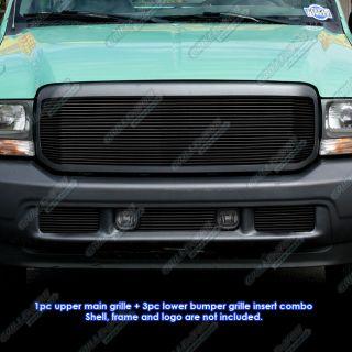 99 04 Ford F 250 F 350 Super Duty Black Billet Grille Grill Combo
