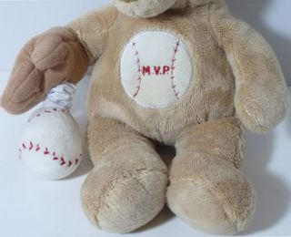 Baby Ganz MVP Baseball Teddy Bear Musical Crib Pull Toy Lovey Stuffed