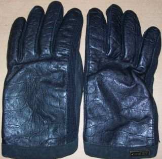 DSquared2 Leather Gloves Black cashmere lined croc crocodile embossed
