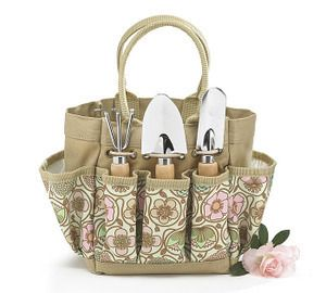 Tote of Garden Tools Floral Print Bag Home Gift Yard Tool Set