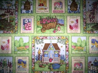 PANEL GARDEN GATE Mary Love Holborn flowers pastels green pink