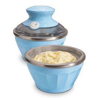 Soft Ice Cream Maker Blue Two 12 oz Freezer Bowls Recipes In