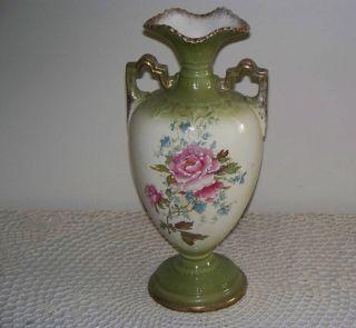 Antique Thomas Forrester England 11 Tall 2 Handle Vase Pink Floral 100