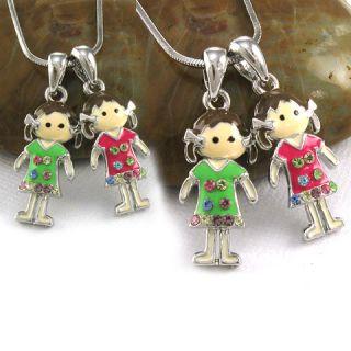 Pretty Best Friends Girls Pendant Necklace Jewelry N121