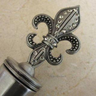 Jeweled Fleur de Lis Wine Bottle Stopper Corkscrew Cork
