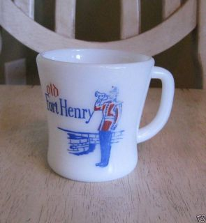 Federal Glass Old Fort Henry Milk Glass Coffee Mug