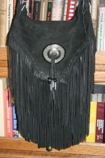 Large Black Fringe Leather Handbag Purse Unused Handmade by Skull