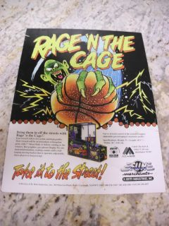 Vintage Rage N The Cage Basketball Shooting Arcade Game Flyer