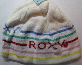 Brand New Roxy Women  Frozen Fruit  Beanie White Stripe Winter Sport