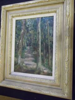 French Antique Impressionist Landscape Oil Painting on panel Signed
