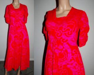 Vtg 1960s 70s Fumis Hawaiian Bright Pink Red Dress XS S