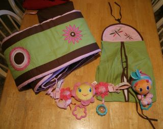 Crib bumper pad and diaper stacker 2 baby toys Girls pink brown and